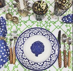 Blue and green, wood flatware