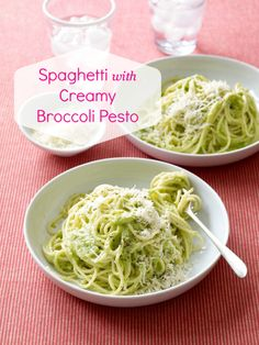 Easy dinner idea: Spaghetti with Creamy Broccoli Pesto