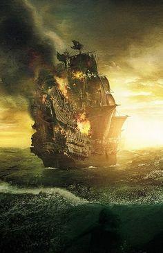 ༺Ᏻℳ༻ ♥ Pirate Art, Pirate Life, Ship Paintings, Landscape Paintings, Dark Fantasy, Fantasy Art, Bateau Pirate, Old Sailing Ships, Ship Drawing