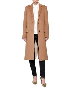 -6LYG Valentino  Long Wool Coat w/Rockstud Collar, Camel Long-Sleeve Rockstud-Trim Blouse, White Rockstud-Trim Skinny Jeans, Navy Denim
