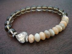 Women's Love & Heart Mala Bracelet  Moonstone by 5thElementYoga