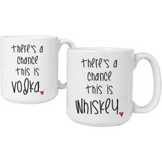 "Cathy's Concepts ""There's a Chance"" Set of 2 Personalized Large 20-oz. ($100) ❤ liked on Polyvore featuring home, kitchen & dining, drinkware, personalized ceramic coffee mugs, personalize coffee mugs, personalized drinkware, personalize mugs and ceramic coffee mugs"
