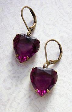 Amethyst Rhinestone Heart Earrings