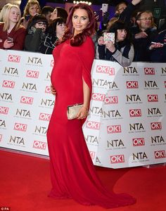 Red hot mama! Amy Childs was every inch the proud mummy-to-be as she set foot on the red carpet at the National Television Awards in London, on Wednesday night