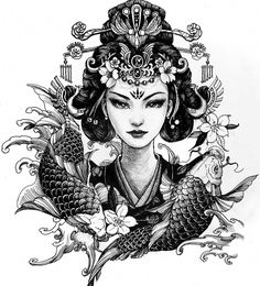 Chronic Ink tattoo Cindy asian-style tattoo Geisha - learning about carp 🐟🐟 - Tattoos - Geisha Tattoos, Irezumi Tattoos, Tatuajes Irezumi, Geisha Tattoo Design, Hannya Tattoo, Japan Tattoo Design, Crow Tattoos, Phoenix Tattoos, Ear Tattoos