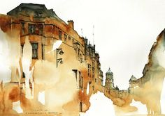 Famous places in Aquarelle painting is a project by Korean artist and illustrator Sunga Park. Sunga currently lives and works in Busan, Rep of South Korea. Watercolor City, Watercolor Landscape, Watercolor And Ink, Watercolor Illustration, Watercolor Paintings, Watercolors, Painting Art, Watercolor Architecture, Art And Architecture