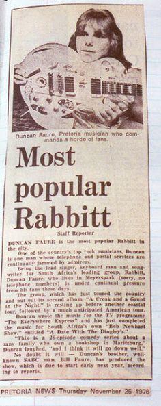 Rabbitt- 1970s South African Rock Band Featuring Duncan Faure Rock Bands, 1970s, African