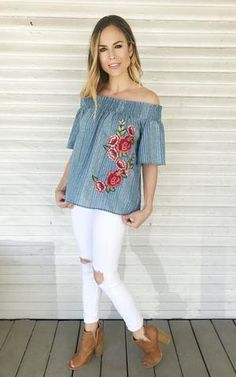 Harvey. Off the shoulder top. Blue pinstripe with floral embroidery. Cute floral top. Embroidered top.