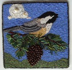 2622 A Chickadee for Caroline Chickadees, Button Art, Beading Projects, Bead Art, Beaded Embroidery, Jewelry Art, Bespoke, Projects To Try, Backgrounds