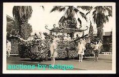 CA Real Photo Postcard Rose Bowl Parade Pasadena California Float Men As Fairies