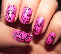 Hellokitty nail designs.... -- so cute but it looks like it would be really hard to do.