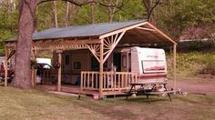 Camper with porch -be sure horse trailer and truck fit under shelter.... include built in storage shed too
