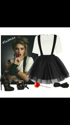 80er Mottoparty Outfit Madonna Netzbluse Schwarz Oberteil Kostum