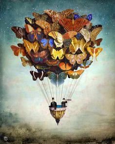 Fly Away by Christian Schloe #Art #Butterfly #AirBaloon