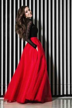 Modern Fashion Red Tulle Skirts Women Nature Waistline Floor Length A Line Classical Maxi Skirt Smooth Long Skirt Red Skirt Outfits, Maxi Outfits, Red Skirts, Long Skirts, Trendy Outfits, Red Tulle Skirt, Tulle Skirts, Red Tutu, Gingham Skirt