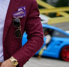 Lavender Luminoso with Purple Signature Border Some of you may be looking at that awesome Porsche in the background, but all I see is that pocketsquare! #sebastiancruzcouture