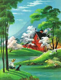 Farm scene - Frans Van Lamsweerde Fishing / Farm scene - Frans Van Lamsweerde Fishing / Farm scene - Frans Van Lamsweerde pieces) 20 Home Decor Painting Inspirations - Painting Tutorial Videos Farm Paintings, Scenery Paintings, Indian Art Paintings, Nature Paintings, Beautiful Paintings, Fantasy Landscape, Landscape Art, Landscape Paintings, Beautiful Landscape Wallpaper