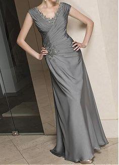 Elegant Floor length v-neck Satin Chiffon Mother of the Bride Dress in Fashion Design