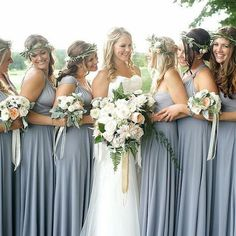 A huge cinda-licious welcome to @henkaa. Specializing in convertable dresses for all your bridesmaids. 📸: @jennkavs, Florals: @bloomsandflora, Hair: @ashleyshantzbridal @lanarae888, Bride's gown: @davidsbridal