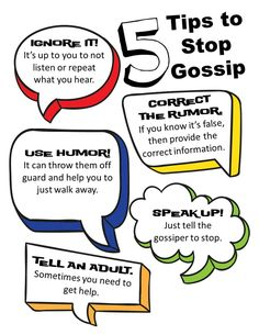 5 Tips to Stop Gossip. Part of the Rumors and Gossip Lesson