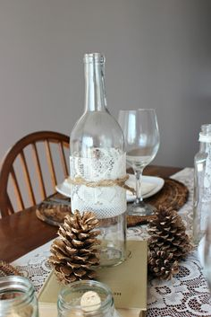 Amelia Marie. Fall Tablescape - Twine& lace wrapped wine bottle #tablescape #fall #lace #winebottles