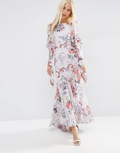 ASOS Cold Shoulder Long Sleeve Ruffle Maxi Dress In Grey Floral
