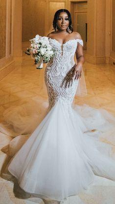 Plus Wedding Dresses, Custom Wedding Dress, Bridal Dresses, Mermaid Bridal Gowns, Types Of Wedding Gowns, Unique Wedding Gowns, Wedding Lace, Gorgeous Wedding Dress, Wedding Ideas