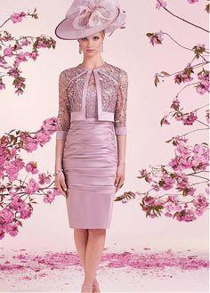 Fabulous Satin & Lace Bateau Neckline Knee-length Sheath Mother Of The Bride Dress With Detachable Jacket