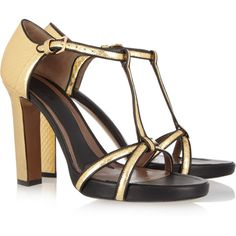 Marni Leather-trimmed watersnake sandals ($418) ❤ liked on Polyvore