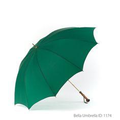 Umbrella ID 1174   Deep Green Umbrella   Bamboo Post Handle   Bella Umbrella   Vintage Umbrella Rentals