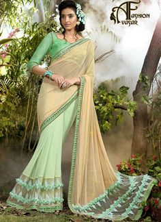 64d6fe303b0353 ... dressed in this lovely beige and sea green fancy fabric