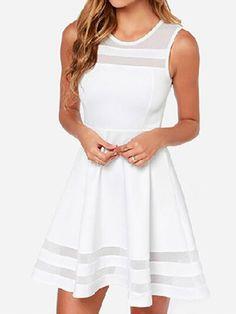 WithChic White Sheer Insert Sleeveless Skater Dress