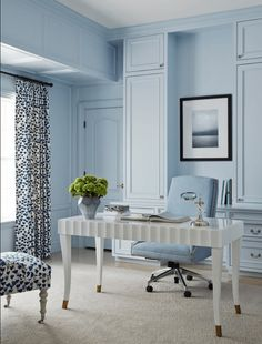 baby blue home office with white desk, pantone airy blue, sky blue, light blue, powder blue