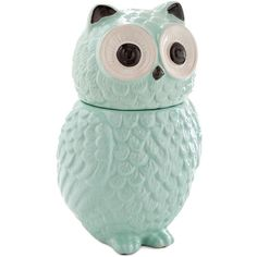 ModCloth Owls Hoot Wants a Cookie? Canister by ModCloth (22 CAD) ❤ liked on Polyvore featuring home, kitchen & dining, food storage containers, fillers, decor, home decor, kitchen, magazine, mint and cookie tins