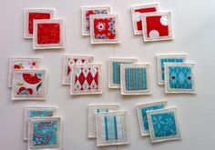 Felt Fabric Memory Game Red Blue Moda MINI by MyPipouneShop, $30.00