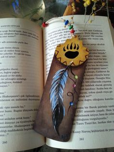 Feather bookmark handmade bookmarks wood bookmark bear by AxiKedi