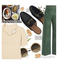 """""""Gather 'Round: Friendsgiving"""" by indhrios ❤ liked on Polyvore featuring Gucci, Cutler and Gross, Totême, H&M, Williams-Sonoma and Sur La Table"""