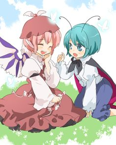 antennae aqua_eyes aqua_hair butterfly cape closed_eyes dress friends happy hat matyinging multiple_girls mystia_lorelei open_mouth pink_hair short_hair sitting smile touhou wings wriggle_nightbug