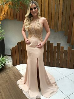 Prom Dress For Teens, Mermaid Round Neck Champagne Satin Prom Dress with Lace Beading, cheap prom dresses, beautiful dresses for prom. Best prom gowns online to make you the spotlight for special occasions. Elegant Prom Dresses, Simple Dresses, Evening Dresses, Formal Dresses, Wedding Dresses, Bridal Gowns, Beaded Lace, Lace Beading, Mermaid Prom Dresses