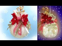 HOBBYBEL blog & youtube Holiday Ornaments, Christmas Wreaths, Christmas Bulbs, Christmas Decorations, Holiday Decor, White Christmas, Diy And Crafts, Upcycle, Recycling