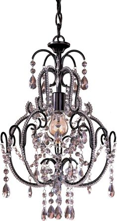Some see crystals I see hearts everywhere!! Minka Lavery Miniature Chandeliers Classy Mini 1-LT 60w Chandelier in Bronze