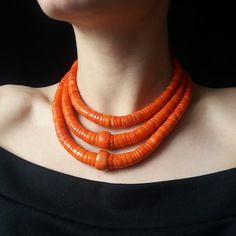 Genuine Coral Necklace Natural Coral Necklace Vintage Coral beads Red Coral Jewelry Vintage Orange Coral Ukrainian Jewelry Ethnic Necklace - List of the best jewelry Necklace For Neckline, Necklace Lengths, Coral Jewelry, Beaded Jewelry, African Tribal Jewelry, Le Jade, Red Coral, Orange Red, Beautiful Necklaces