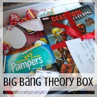 I love the idea of this Big Bang Theory Care Package (Love From Home). And we can change the theme of the box based on what interests the person we're giving this to.