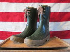 Vintage Army Green Insulated Rubber Work Boots by downhomevintage, $30.00