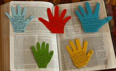 Handprint Bible verses. Send extra paper and ask your kids to trace their hand and send it back!