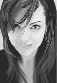 Photo Realistic Vector Girl. This image almost looks like a real black and white image. They do a wonderful job adding the realistic touch to her. Especially her hair and eyes.