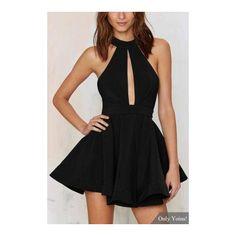Black Halter Skater Dress ($29) ❤ liked on Polyvore featuring dresses, skater dress, cutout skater dress, cut out halter dress, halter neck dress and mesh panel dress