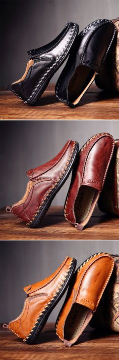 These are great casual leather shoes.Men Leather Hand Stitching Soft Breathable Slip On Casual Shoes Hot Shoes, Men S Shoes, Leather Men, Leather Shoes, Leather Jackets, Pink Leather, Men Dress, Dress Shoes, Mode Masculine