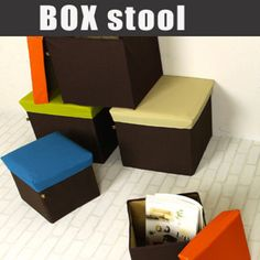Box Storage Stool Cube Store Ottoman Folding Box Seat Light Furniture BLC-378OR…
