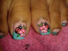 Cute Toe Nails, Cute Toes, Toe Nail Art, Tie Dye Nails, French Pedicure, Toe Nail Designs, Art Designs, Ladybug, Beauty